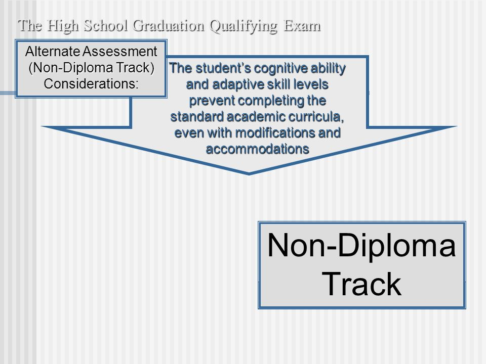 The students cognitive ability and adaptive skill levels prevent completing the standard academic curricula, even with modifications and accommodations The High School Graduation Qualifying Exam Non-Diploma Track Alternate Assessment (Non-Diploma Track) Considerations: Non-Diploma Track