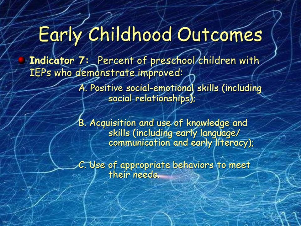 Early Childhood Outcomes Indicator 7: Percent of preschool children with IEPs who demonstrate improved: A.