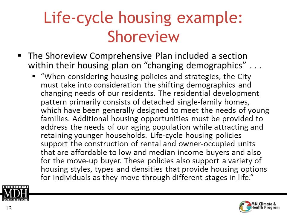 13 Life-cycle housing example: Shoreview The Shoreview Comprehensive Plan included a section within their housing plan on changing demographics... Whe