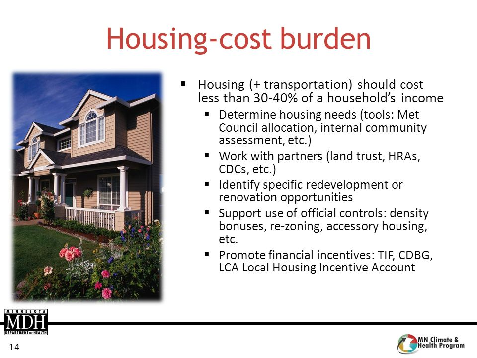 14 Housing-cost burden Housing (+ transportation) should cost less than 30-40% of a households income Determine housing needs (tools: Met Council allo