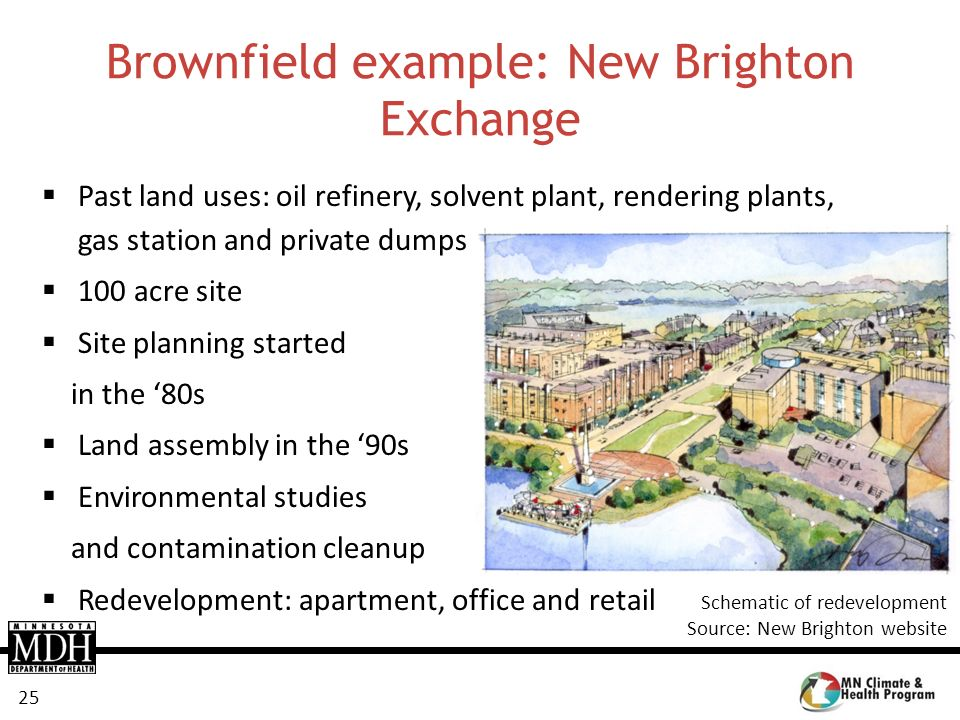 25 Brownfield example: New Brighton Exchange Past land uses: oil refinery, solvent plant, rendering plants, gas station and private dumps 100 acre sit