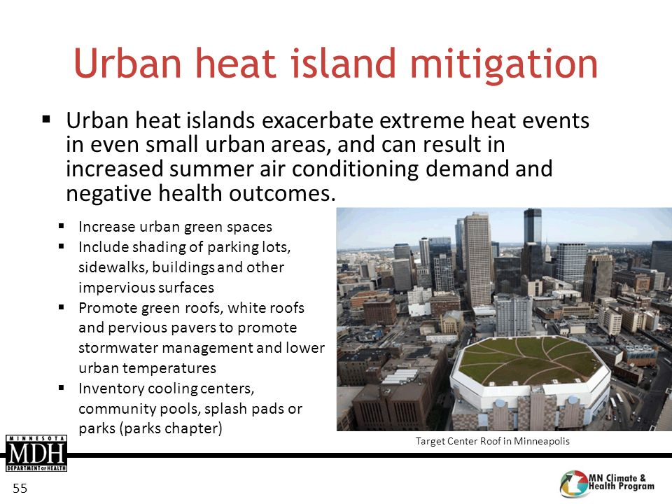 55 Urban heat island mitigation Urban heat islands exacerbate extreme heat events in even small urban areas, and can result in increased summer air co