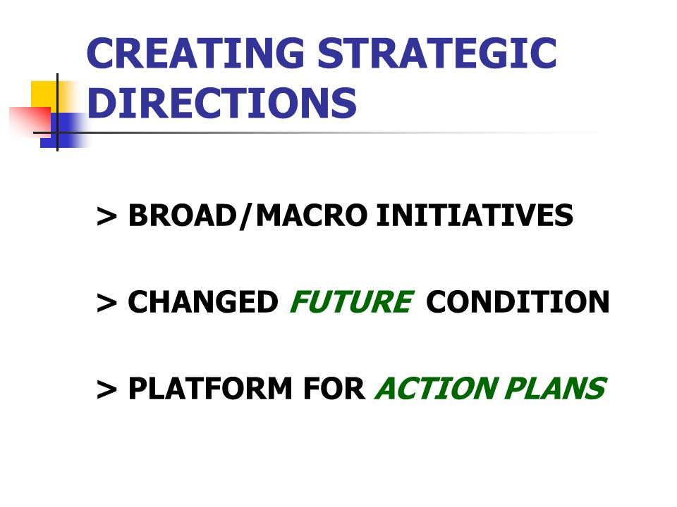 CREATING STRATEGIC DIRECTIONS > BROAD/MACRO INITIATIVES > CHANGED FUTURE CONDITION > PLATFORM FOR ACTION PLANS