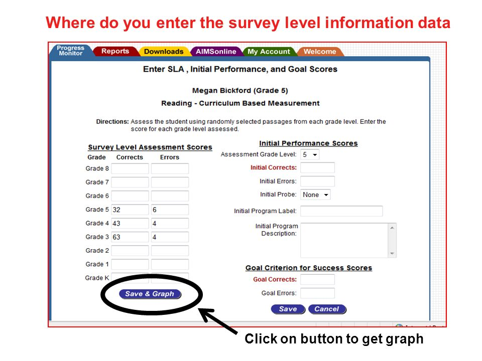 Where do you enter the survey level information data Click on button to get graph
