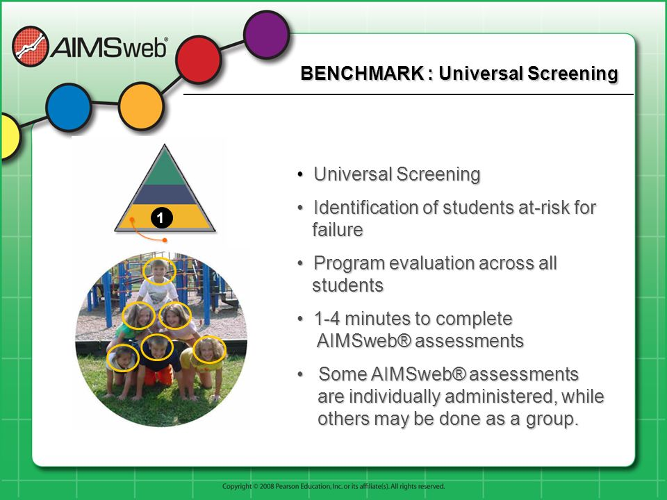 BENCHMARK : Universal Screening Universal Screening Universal Screening Identification of students at-risk for failure Identification of students at-risk for failure Program evaluation across all students Program evaluation across all students 1-4 minutes to complete AIMSweb® assessments 1-4 minutes to complete AIMSweb® assessments Some AIMSweb® assessments are individually administered, while others may be done as a group.