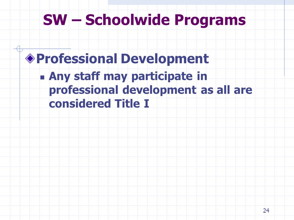 24 SW – Schoolwide Programs Professional Development Any staff may participate in professional development as all are considered Title I