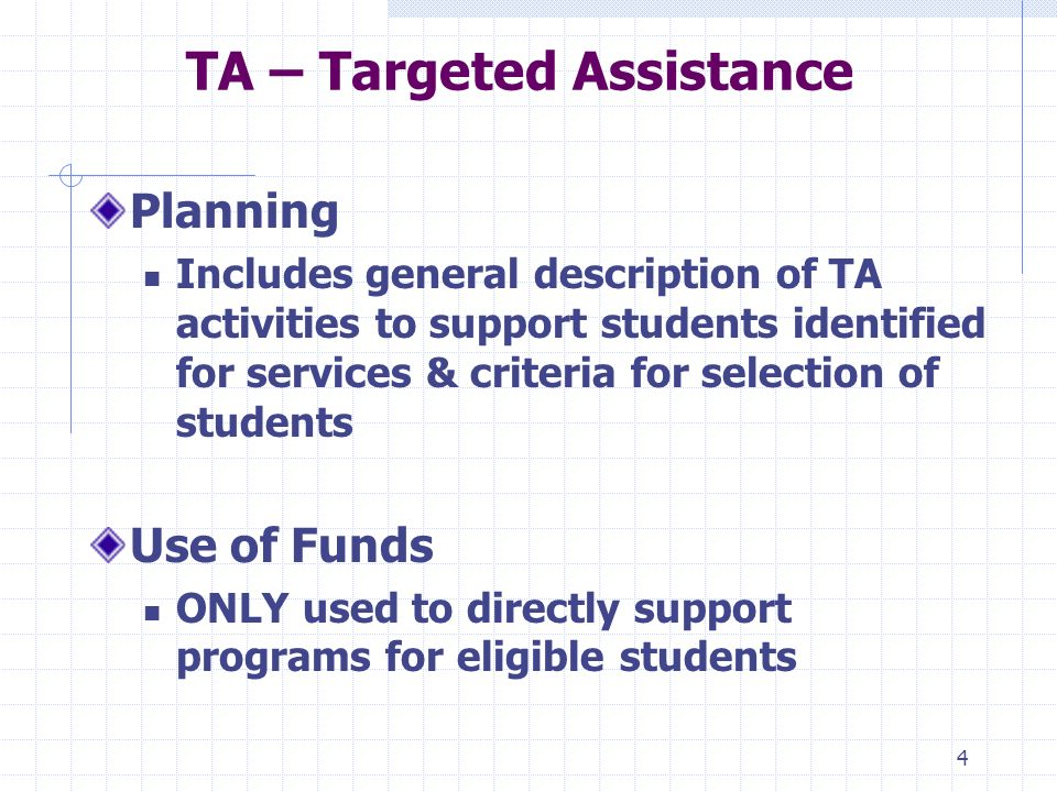 4 TA – Targeted Assistance Planning Includes general description of TA activities to support students identified for services & criteria for selection of students Use of Funds ONLY used to directly support programs for eligible students