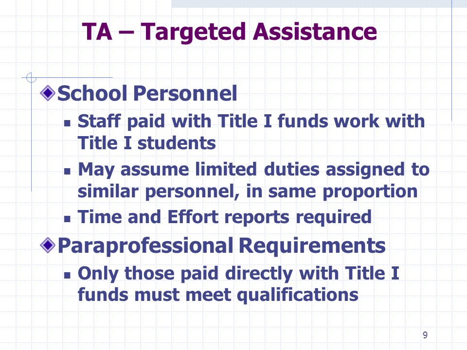 9 TA – Targeted Assistance School Personnel Staff paid with Title I funds work with Title I students May assume limited duties assigned to similar personnel, in same proportion Time and Effort reports required Paraprofessional Requirements Only those paid directly with Title I funds must meet qualifications