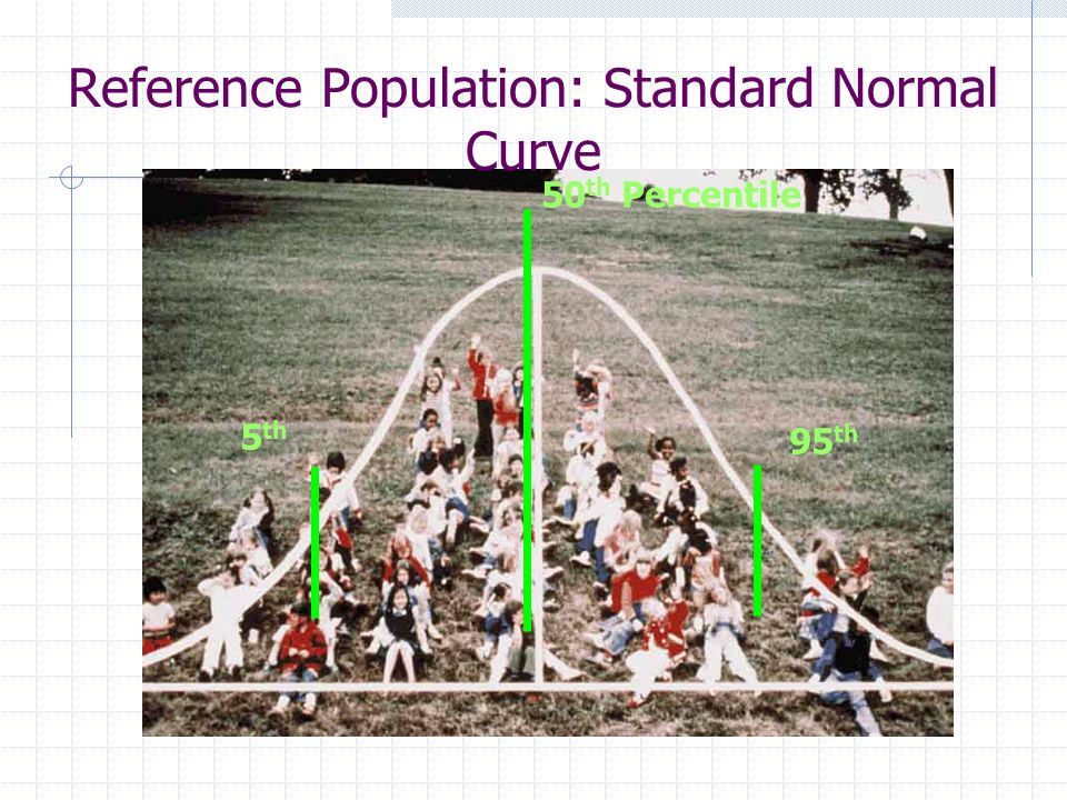 Reference Population: Standard Normal Curve 95 th 5 th 50 th Percentile