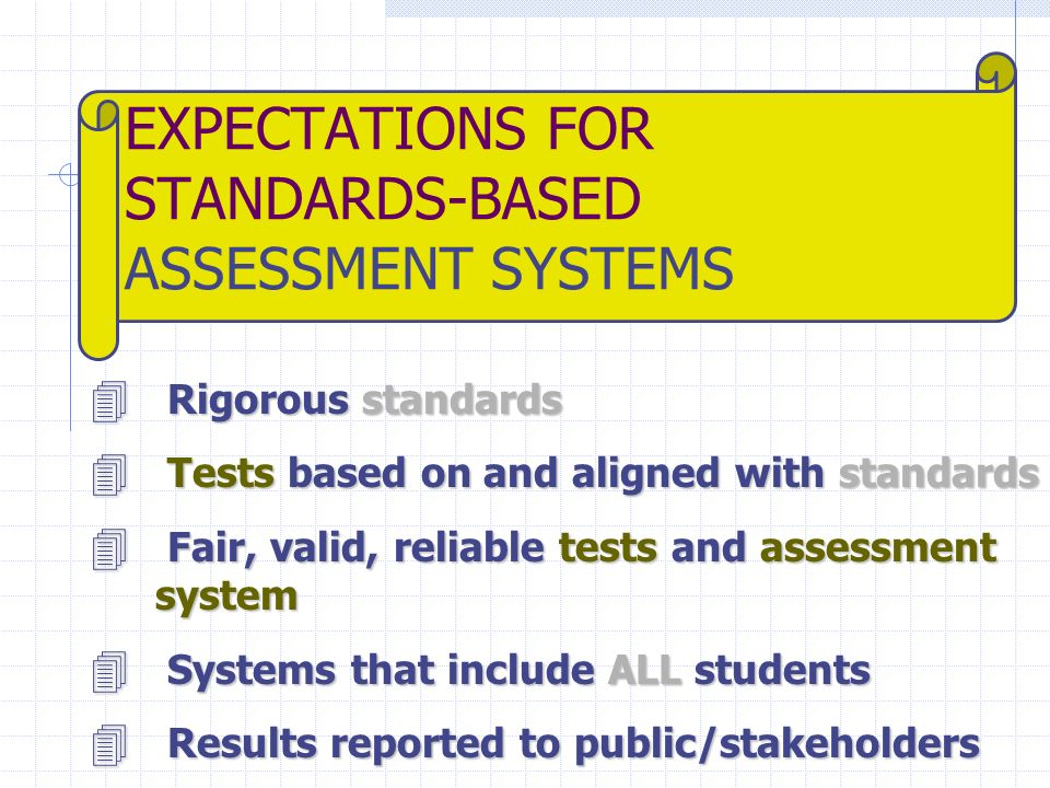 EXPECTATIONS FOR STANDARDS-BASED ASSESSMENT SYSTEMS 4 Rigorous standards 4 Tests based on and aligned with standards 4 Fair, valid, reliable tests and