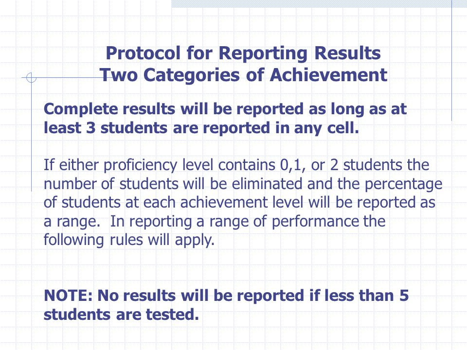 Protocol for Reporting Results Two Categories of Achievement Complete results will be reported as long as at least 3 students are reported in any cell