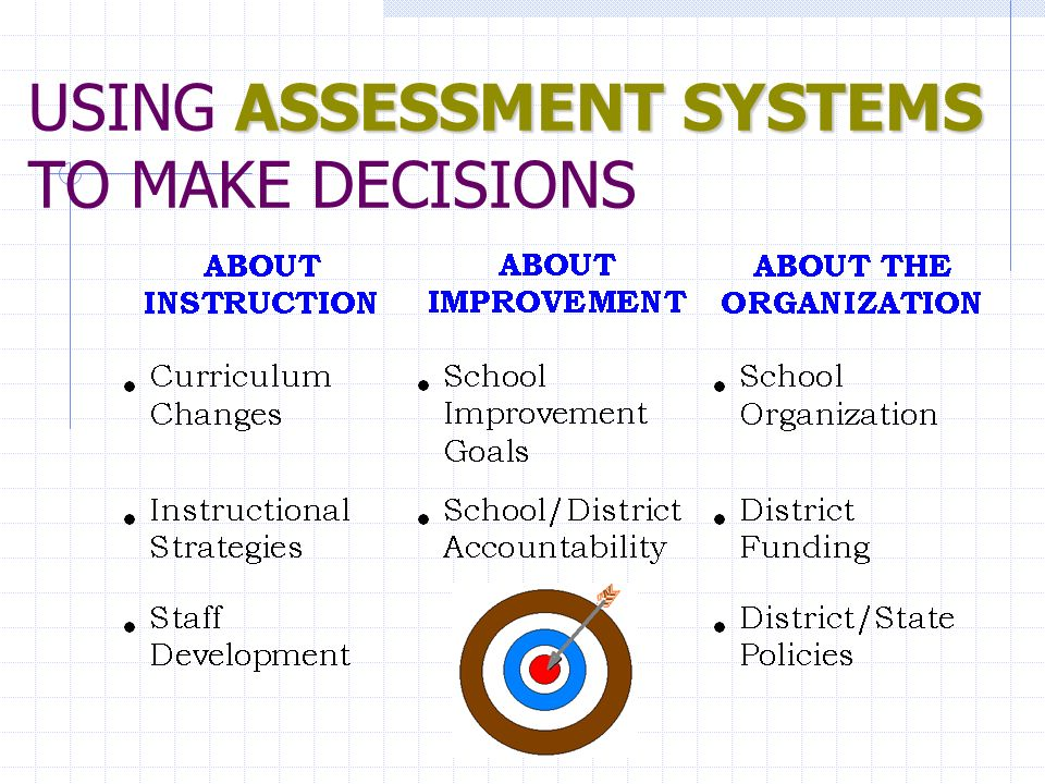 ASSESSMENT SYSTEMS USING ASSESSMENT SYSTEMS TO MAKE DECISIONS