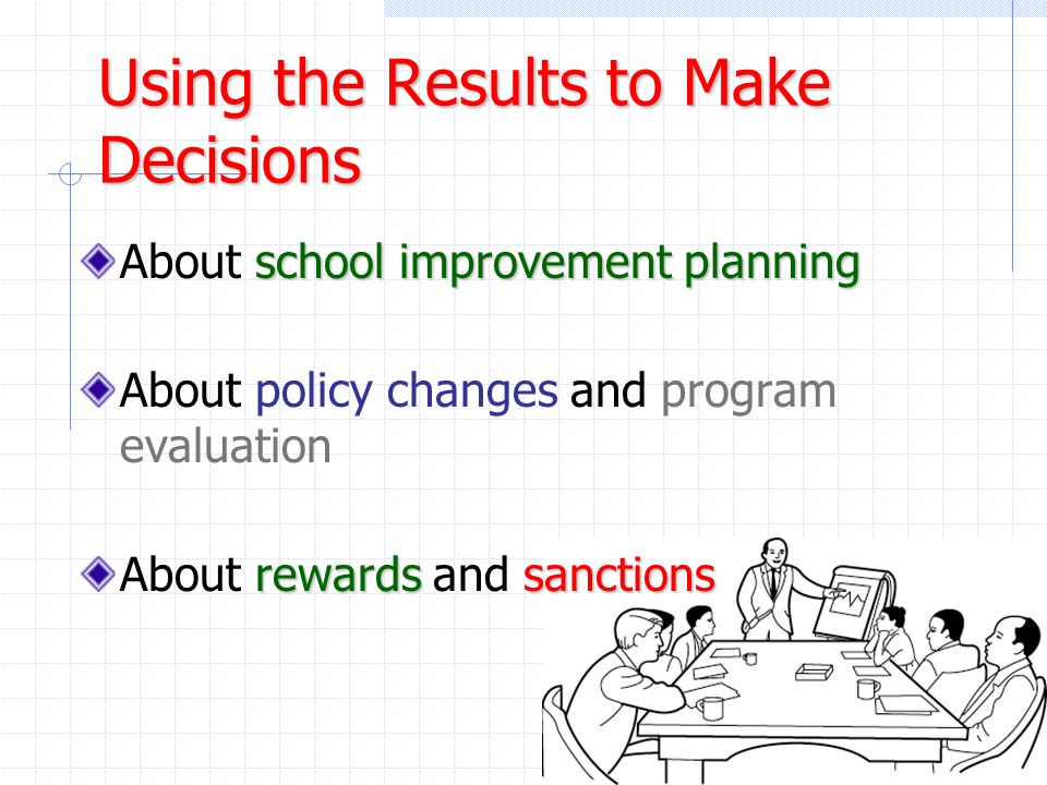 Using the Results to Make Decisions school improvement planning About school improvement planning About policy changes and program evaluation rewardss