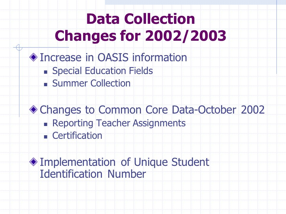 Data Collection Changes for 2002/2003 Increase in OASIS information Special Education Fields Summer Collection Changes to Common Core Data-October 200