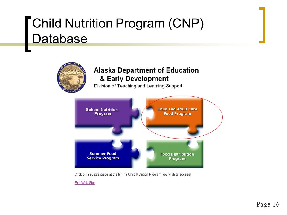Page 16 Child Nutrition Program (CNP) Database