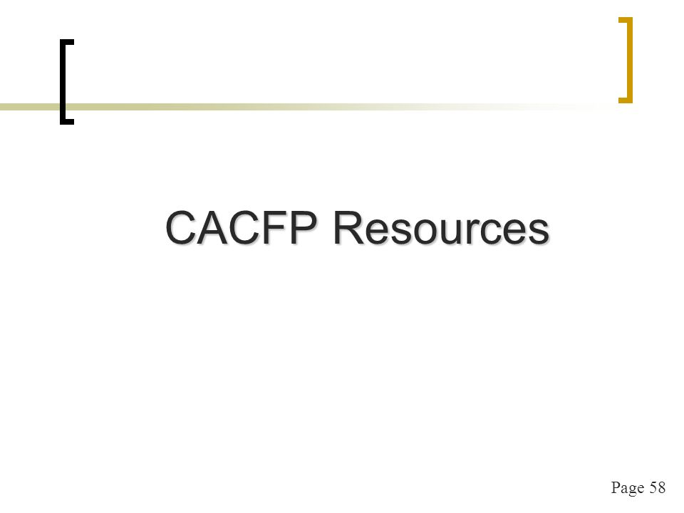 Page 58 CACFP Resources