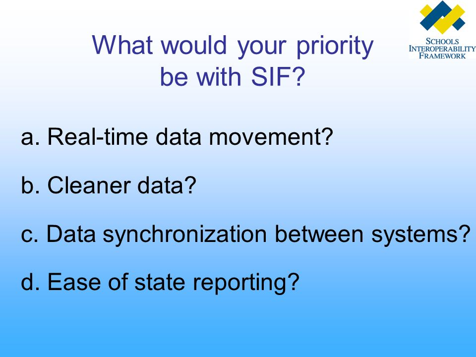 What would your priority be with SIF? a. Real-time data movement? b. Cleaner data? c. Data synchronization between systems? d. Ease of state reporting