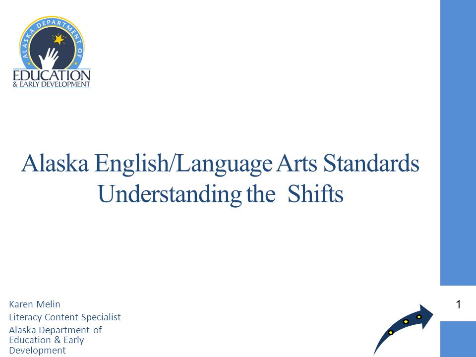Alaska English/Language Arts Standards Understanding the Shifts Karen Melin Literacy Content Specialist Alaska Department of Education & Early Develop