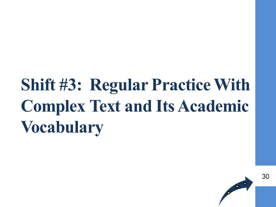 Shift #3: Regular Practice With Complex Text and Its Academic Vocabulary 30