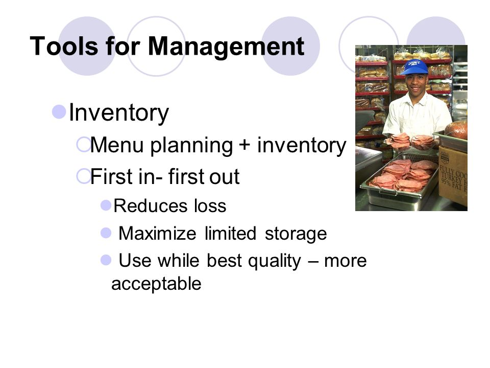 Tools for Management Inventory Menu planning + inventory First in- first out Reduces loss Maximize limited storage Use while best quality – more acceptable