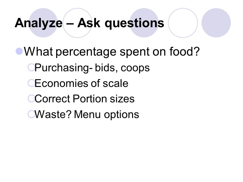 Analyze – Ask questions What percentage spent on food.
