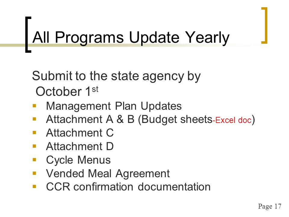 Page 17 All Programs Update Yearly Submit to the state agency by October 1 st Management Plan Updates Attachment A & B (Budget sheets -Excel doc ) Attachment C Attachment D Cycle Menus Vended Meal Agreement CCR confirmation documentation