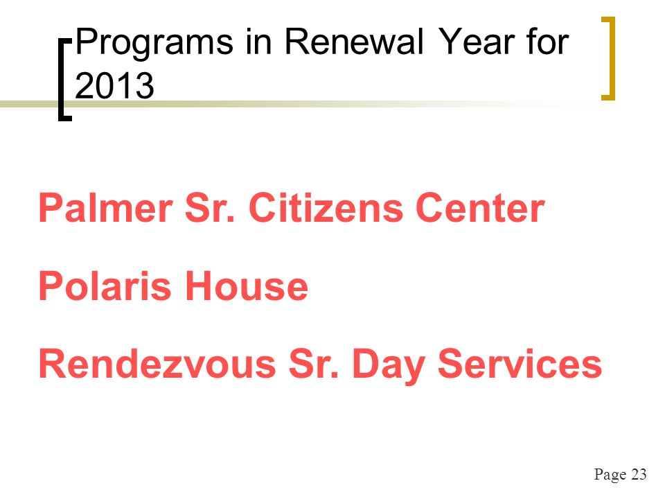 Page 23 Programs in Renewal Year for 2013 Palmer Sr.