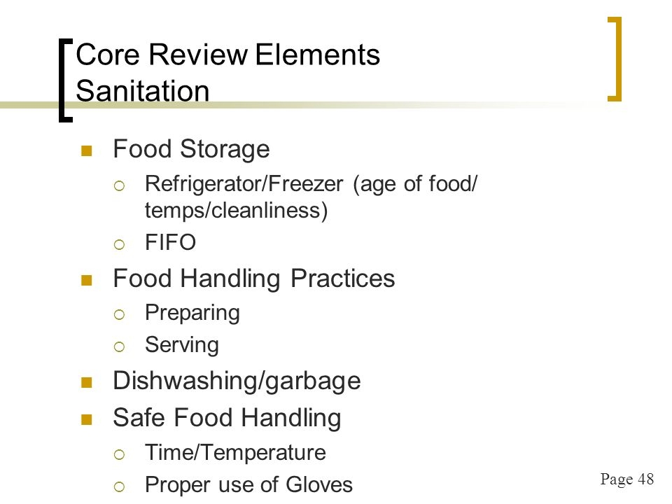 Page 48 Core Review Elements Sanitation Food Storage Refrigerator/Freezer (age of food/ temps/cleanliness) FIFO Food Handling Practices Preparing Serving Dishwashing/garbage Safe Food Handling Time/Temperature Proper use of Gloves