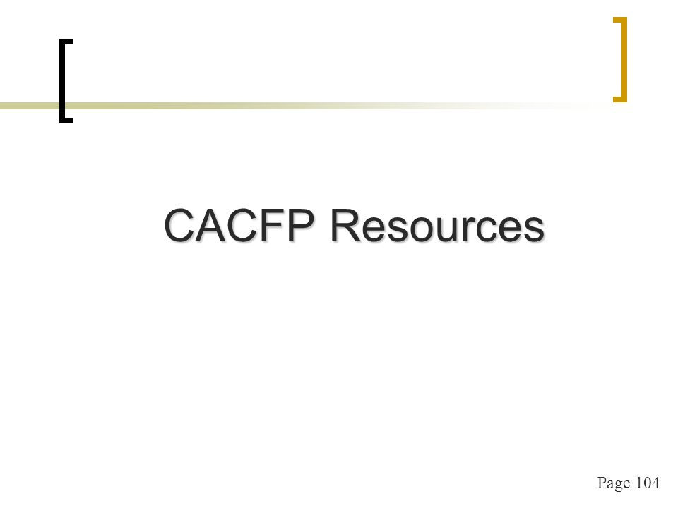 Page 104 CACFP Resources