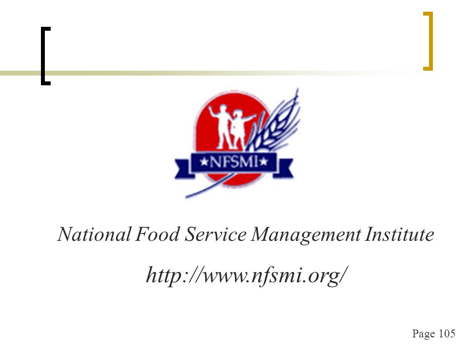 Page 105 National Food Service Management Institute