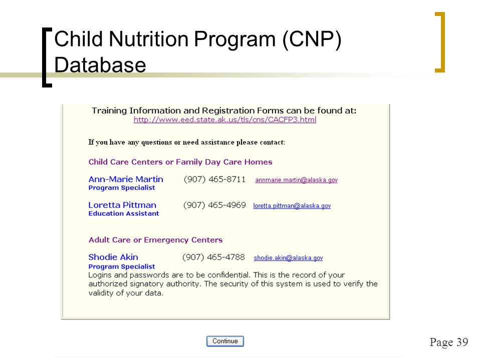 Page 39 Child Nutrition Program (CNP) Database