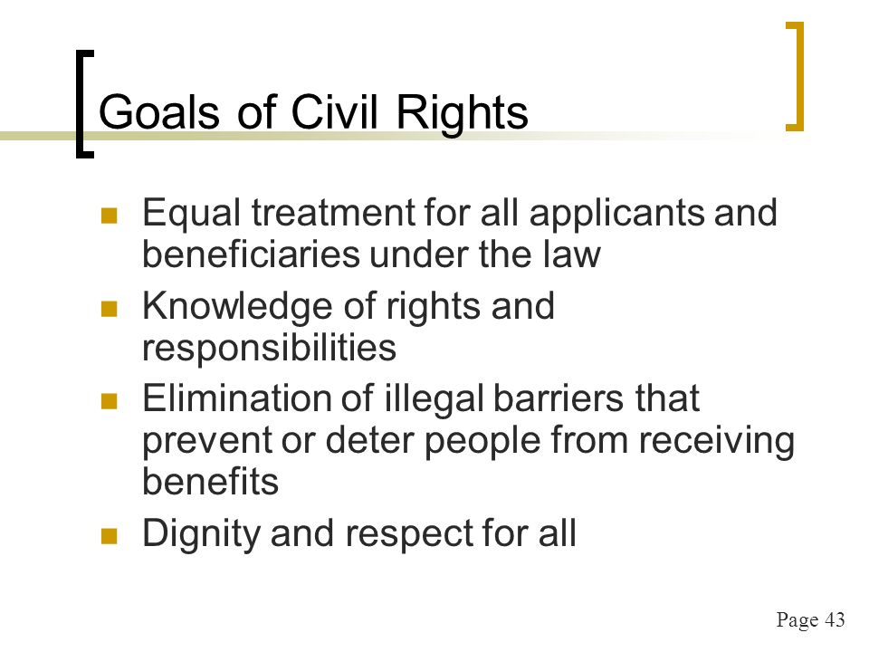 Page 43 Goals of Civil Rights Equal treatment for all applicants and beneficiaries under the law Knowledge of rights and responsibilities Elimination of illegal barriers that prevent or deter people from receiving benefits Dignity and respect for all