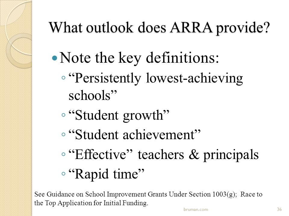 What outlook does ARRA provide.
