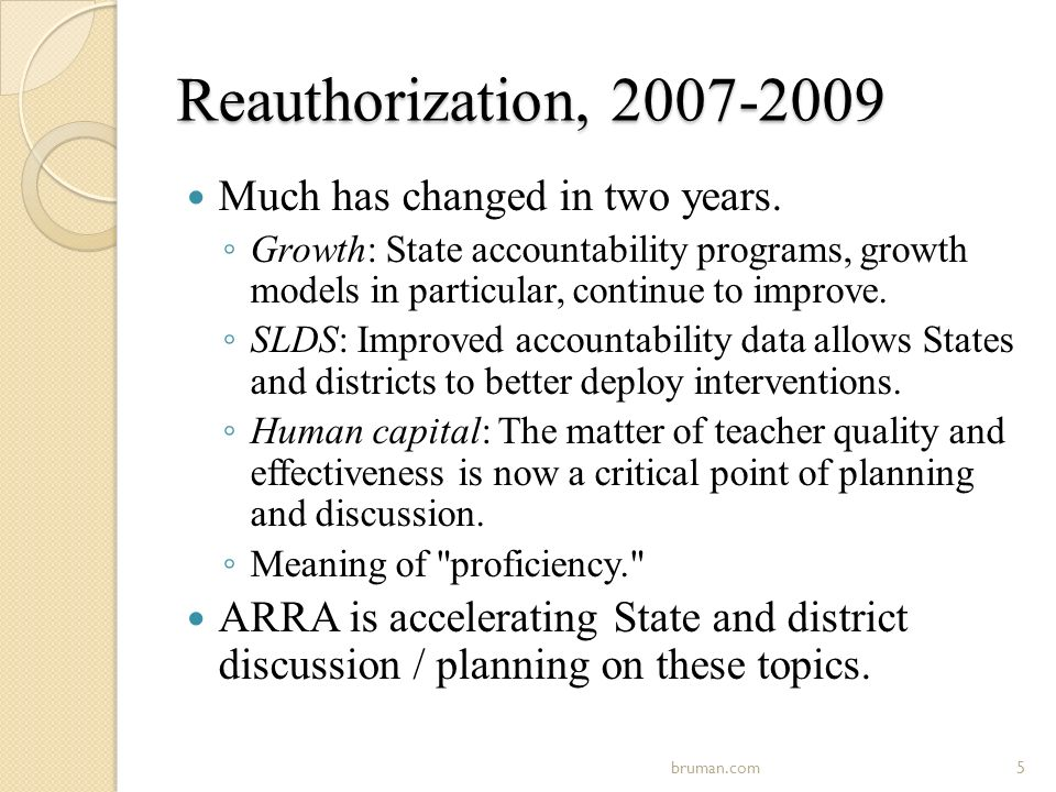 Reauthorization, 2007-2009 Much has changed in two years.