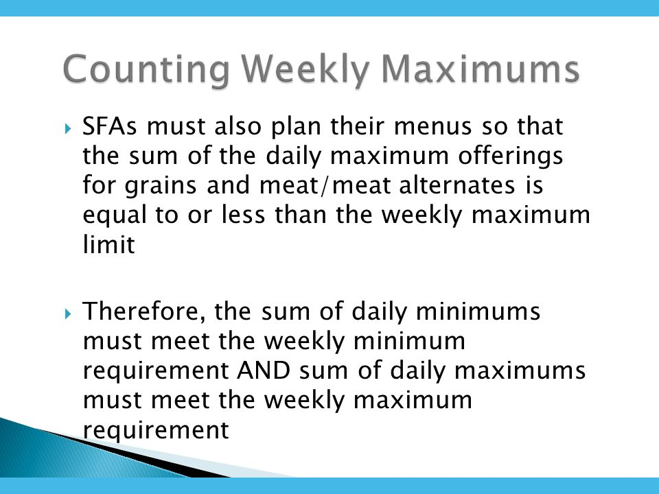 SFAs must also plan their menus so that the sum of the daily maximum offerings for grains and meat/meat alternates is equal to or less than the weekly maximum limit Therefore, the sum of daily minimums must meet the weekly minimum requirement AND sum of daily maximums must meet the weekly maximum requirement