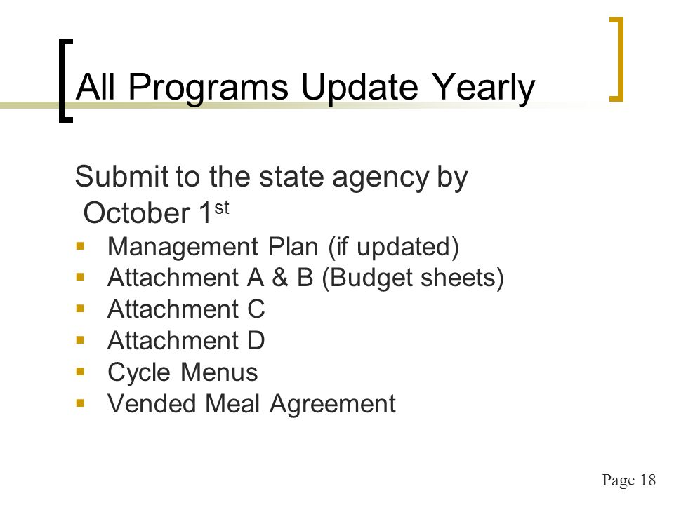 Page 18 All Programs Update Yearly Submit to the state agency by October 1 st Management Plan (if updated) Attachment A & B (Budget sheets) Attachment
