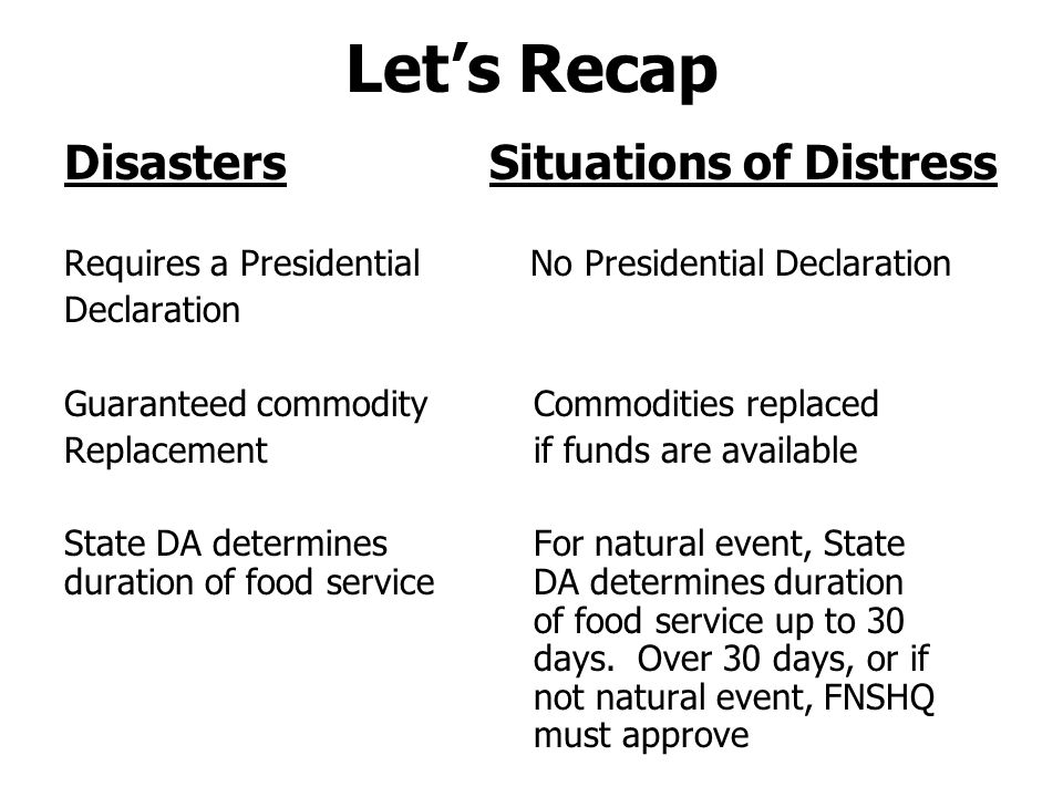 Summary Report SDA must submit a summary report to FNSHQ via FNSRO within 45 days following termination of the disaster or situation of distress assistance.