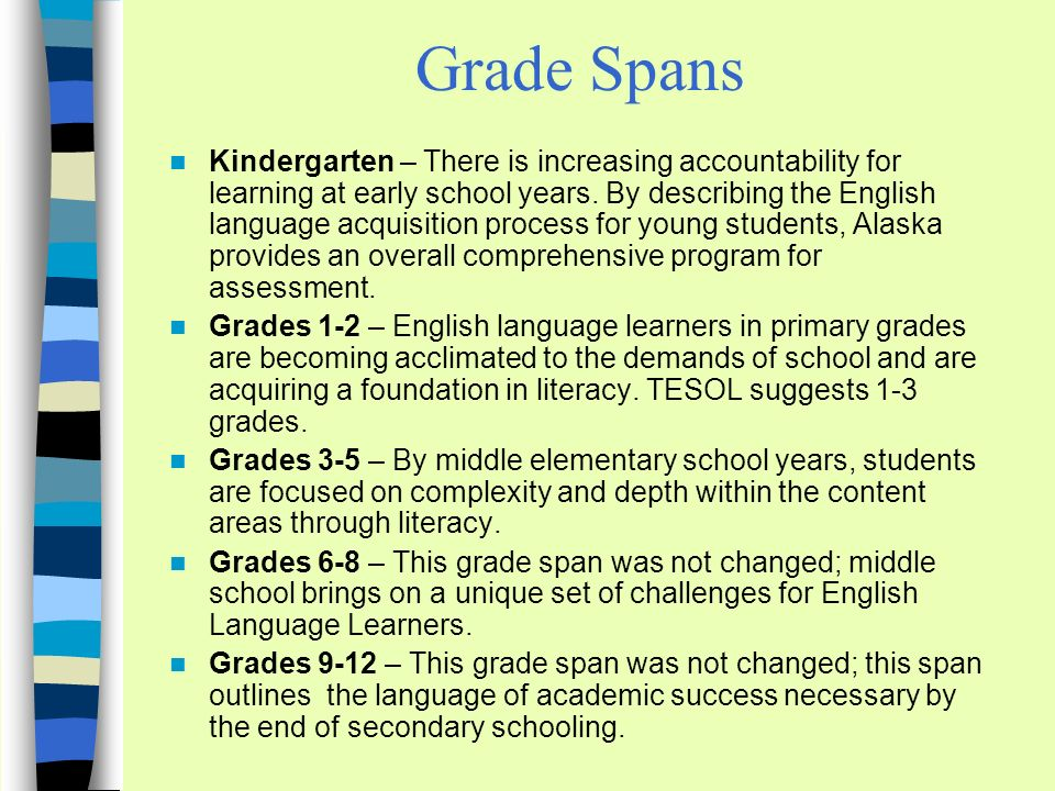 Grade Spans Kindergarten – There is increasing accountability for learning at early school years.