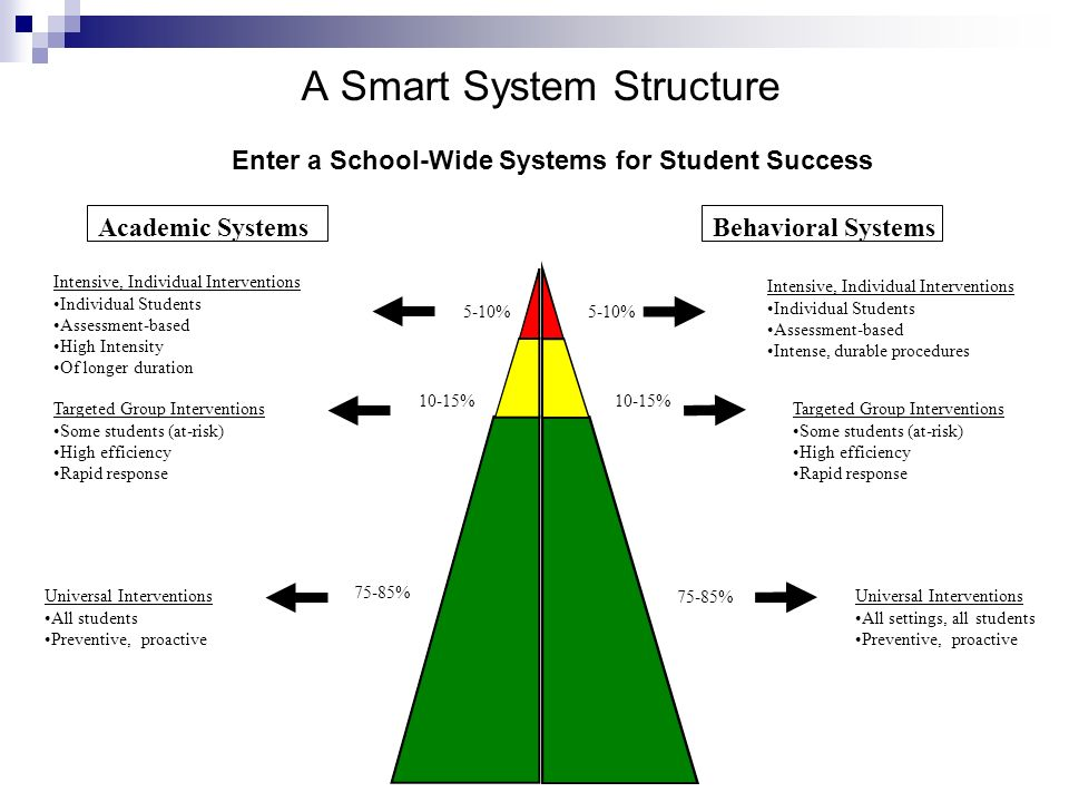 Academic SystemsBehavioral Systems 5-10% 10-15% Intensive, Individual Interventions Individual Students Assessment-based High Intensity Of longer duration Intensive, Individual Interventions Individual Students Assessment-based Intense, durable procedures Targeted Group Interventions Some students (at-risk) High efficiency Rapid response Targeted Group Interventions Some students (at-risk) High efficiency Rapid response 75-85% Universal Interventions All students Preventive, proactive Universal Interventions All settings, all students Preventive, proactive A Smart System Structure Enter a School-Wide Systems for Student Success