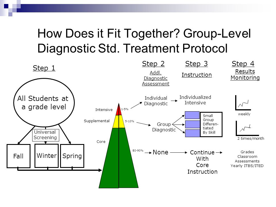 How Does it Fit Together? Group-Level Diagnostic Std. Treatment Protocol Addl. Diagnostic Assessment Instruction Results Monitoring Individual Diagnos