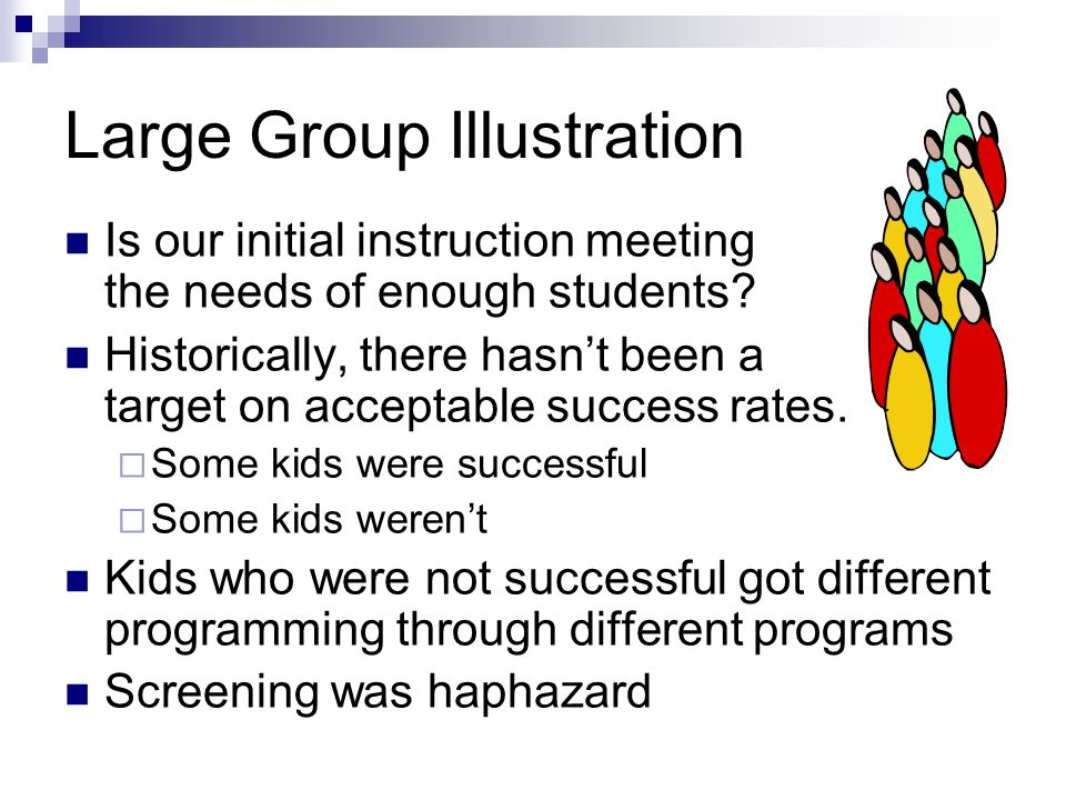 Large Group Illustration Is our initial instruction meeting the needs of enough students? Historically, there hasnt been a target on acceptable succes