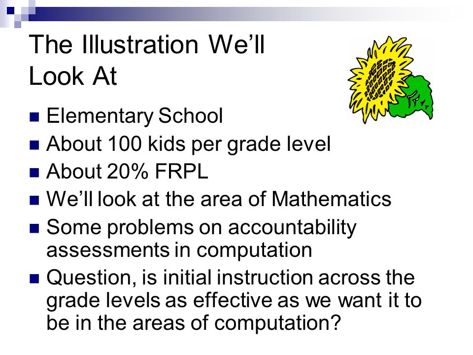 The Illustration Well Look At Elementary School About 100 kids per grade level About 20% FRPL Well look at the area of Mathematics Some problems on ac