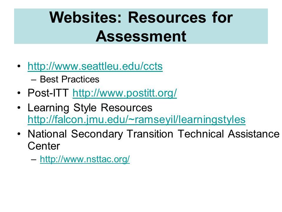 Websites: Resources for Assessment http://www.seattleu.edu/ccts –Best Practices Post-ITT http://www.postitt.org/http://www.postitt.org/ Learning Style