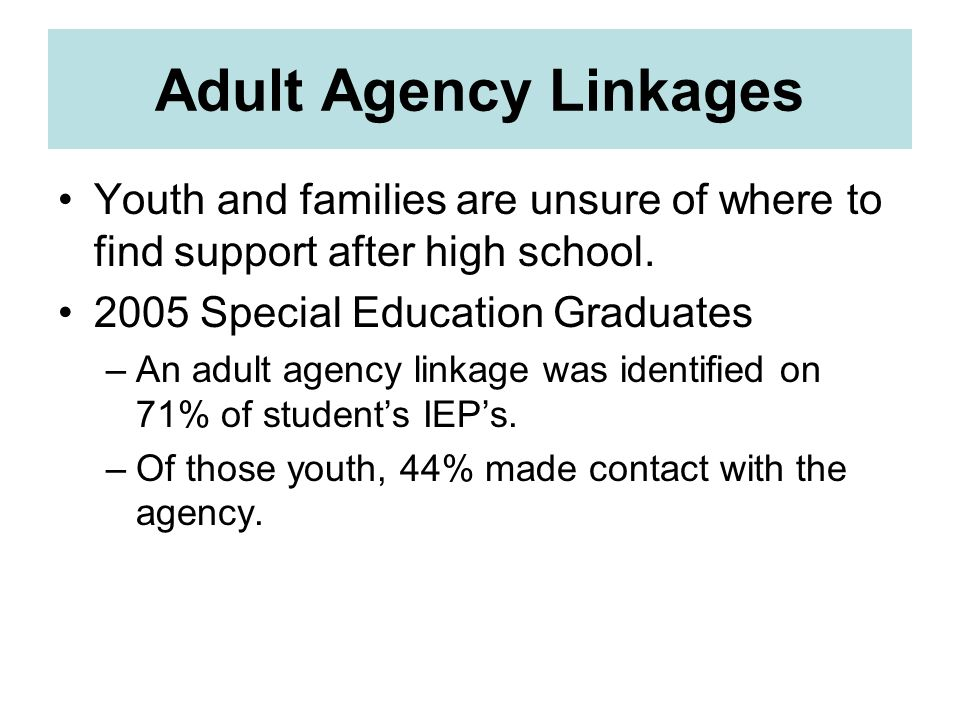 Adult Agency Linkages Youth and families are unsure of where to find support after high school. 2005 Special Education Graduates –An adult agency link