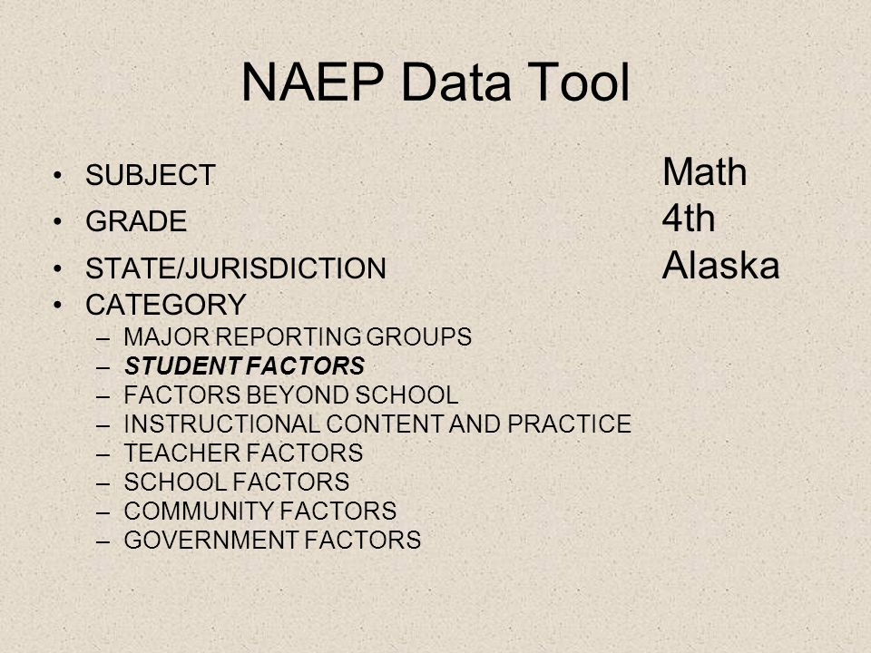 NAEP Data Tool SUBJECT Math GRADE 4th STATE/JURISDICTION Alaska CATEGORY –MAJOR REPORTING GROUPS –STUDENT FACTORS –FACTORS BEYOND SCHOOL –INSTRUCTIONAL CONTENT AND PRACTICE –TEACHER FACTORS –SCHOOL FACTORS –COMMUNITY FACTORS –GOVERNMENT FACTORS