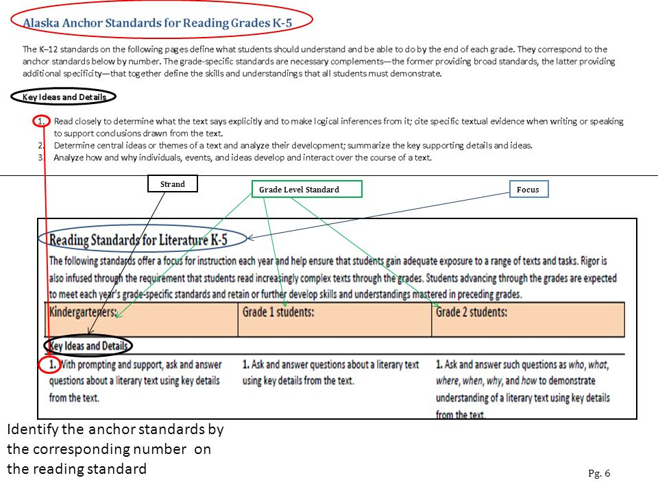 Identify the anchor standards by the corresponding number on the reading standard Pg.