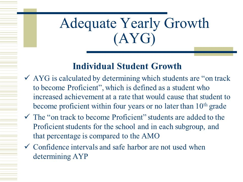 Adequate Yearly Growth (AYG) Individual Student Growth AYG is calculated by determining which students are on track to become Proficient, which is defined as a student who increased achievement at a rate that would cause that student to become proficient within four years or no later than 10 th grade The on track to become Proficient students are added to the Proficient students for the school and in each subgroup, and that percentage is compared to the AMO Confidence intervals and safe harbor are not used when determining AYP