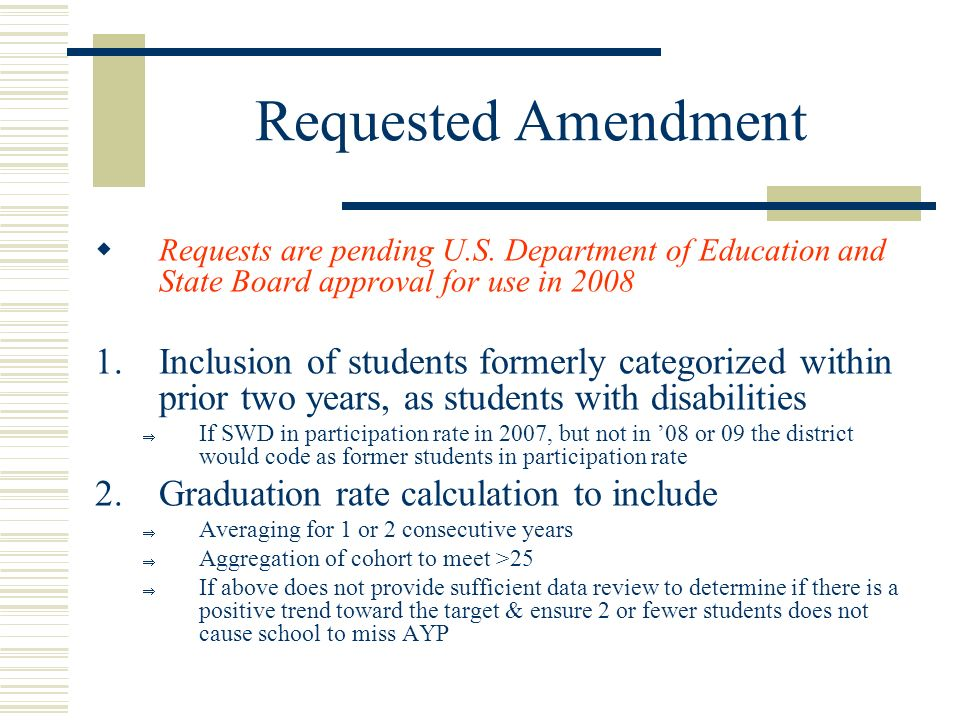 Requested Amendment Requests are pending U.S.