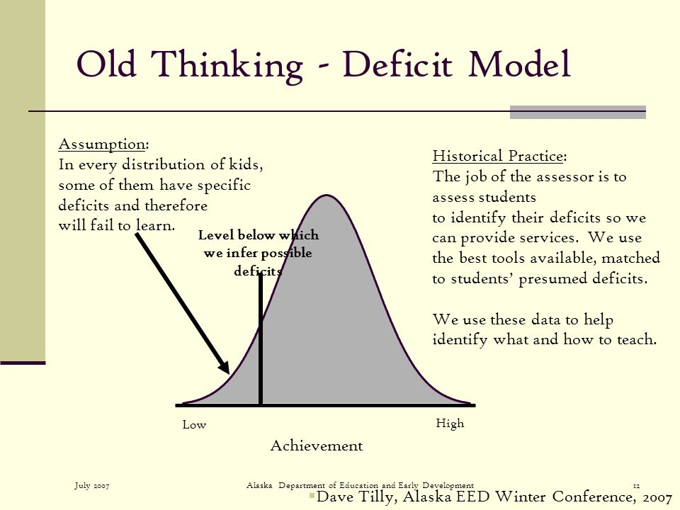 July 2007Alaska Department of Education and Early Development12 Old Thinking - Deficit Model Assumption: In every distribution of kids, some of them have specific deficits and therefore will fail to learn.