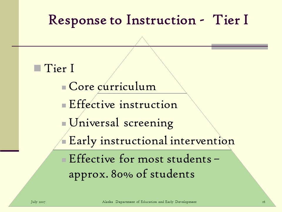 July 2007Alaska Department of Education and Early Development16 Response to Instruction - Tier I Tier I Core curriculum Effective instruction Universal screening Early instructional intervention Effective for most students – approx.